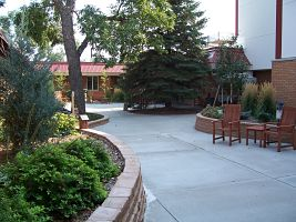 Outside patio with seating and shrubbery.